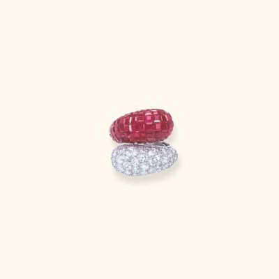 AN INVISIBLY-SET RUBY AND DIAM