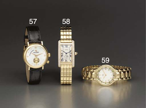 Ebel. An 18K gold, diamond and emerald-set wristwatch with mother-of-pearl dial and bracelet
