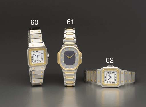 Cartier. A stainless steel and 18K gold self-winding square-shaped wristwatch with sweep center seconds, date and bracelet