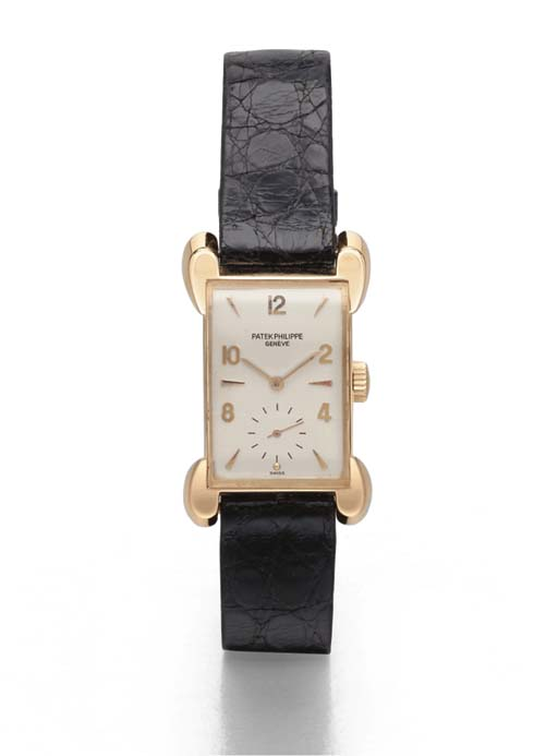 Patek Philippe. A fine and rare 18K pink gold rectangular-shaped wristwatch with unusual lugs