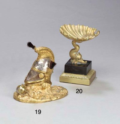 A FRENCH ORMOLU AND PEWTER INK