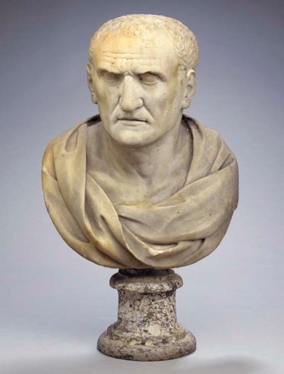 AN ITALIAN MARBLE BUST OF AN E