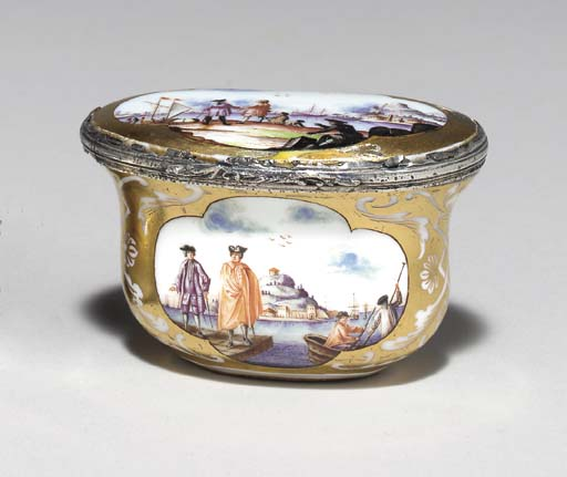 A MEISSEN SILVER-MOUNTED GOLD-GROUND SNUFF BOX