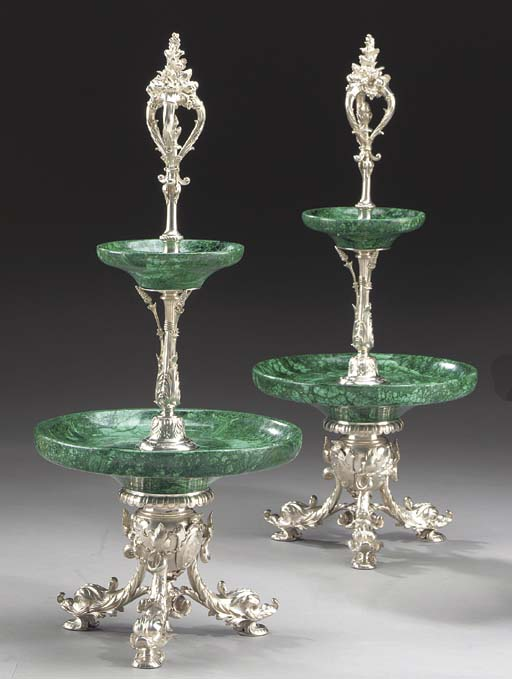 A pair of French silver and ma