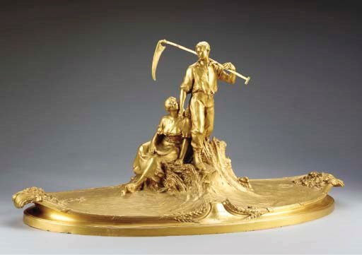 A large French gilt-bronze pre