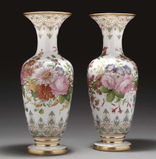 A PAIR OF FRENCH OPALINE GLASS