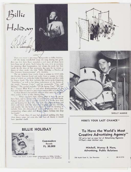 BILLIE HOLIDAY AND OTHERS SIGN