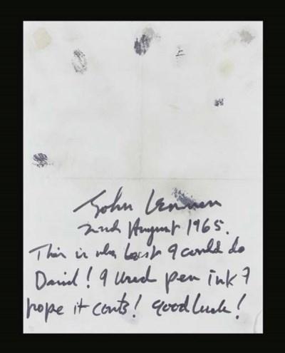 JOHN LENNON NOTE AND FINGERPRI