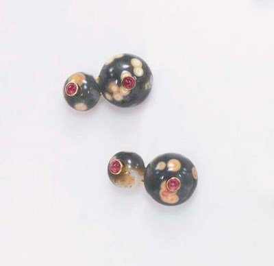 A PAIR OF THOMSONITE, RUBY AND