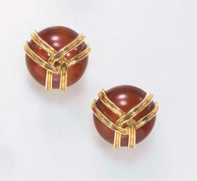 A PAIR OF CARNELIAN AND 18K GO