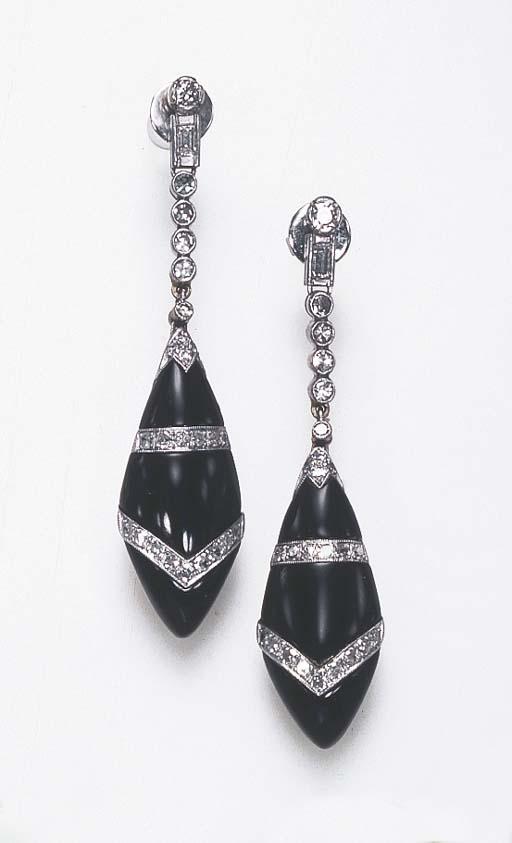 A PAIR OF ONYX, DIAMOND, PLATI