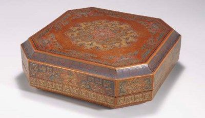 A LACQUER OCTAGONAL BOX AND CO