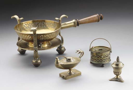 A GROUP OF BRASS DOMESTIC OBJE