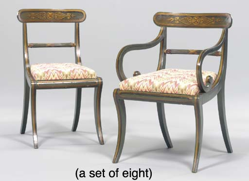 A SET OF EIGHT REGENCY GREEN-P