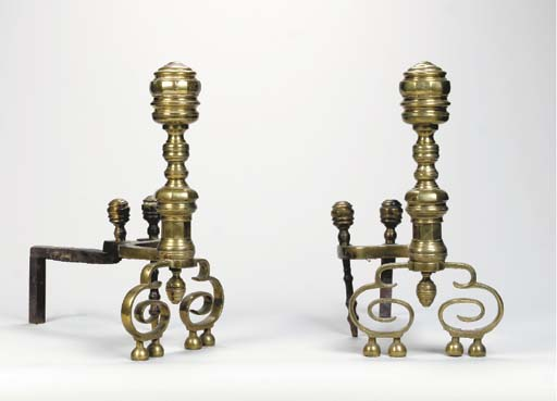 A PAIR OF BRASS AND IRON ANDIR