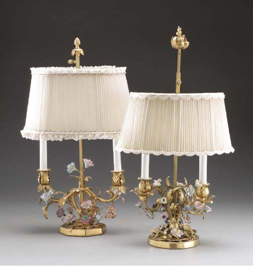 A PAIR OF GILT-METAL AND POLYC