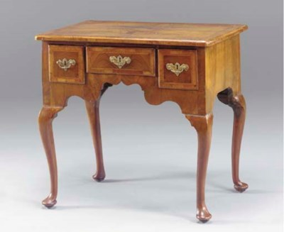 A GEORGE I WALNUT LOWBOY,