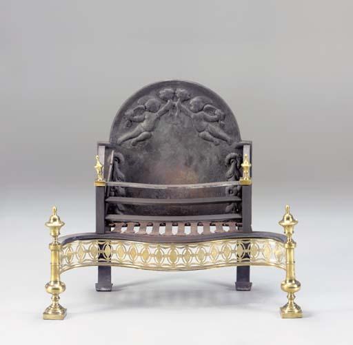 A GEORGE III BRASS AND CAST-IR