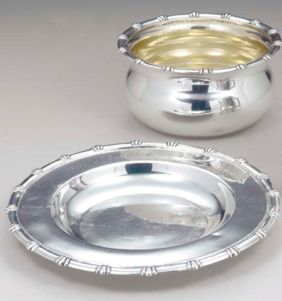 A SILVER CHILD'S BOWL AND STAN
