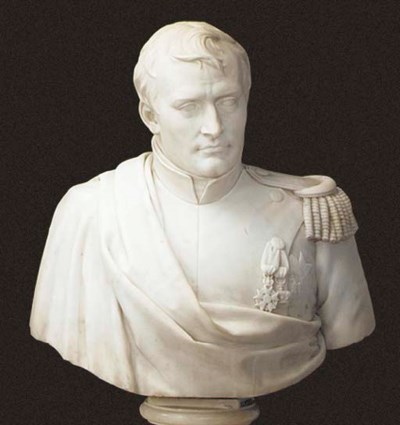 A WHITE MARBLE BUST OF NAPOLEO