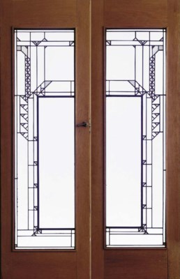 A PAIR OF LEADED GLASS DOORS