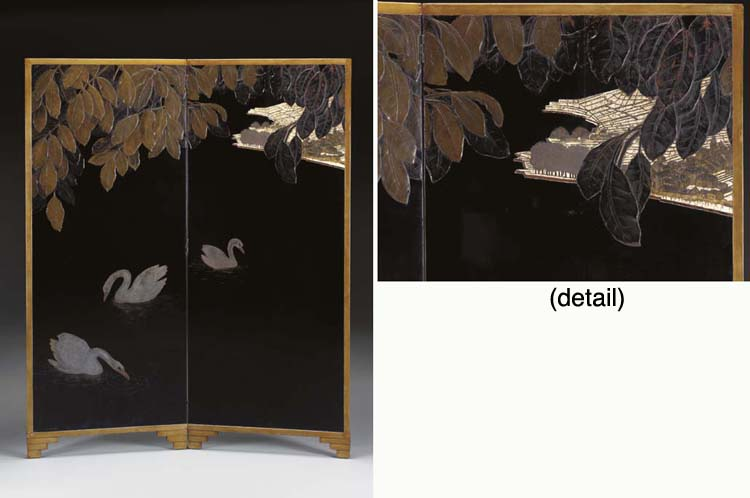 'LAC LEMAN', A TWO-PANEL LACQU
