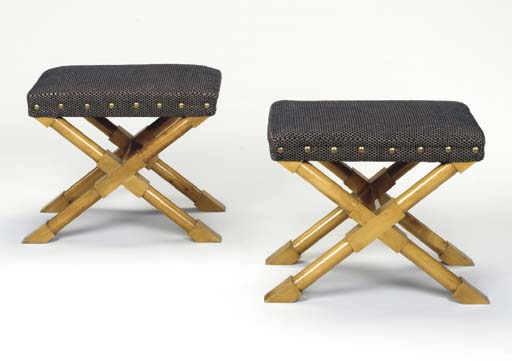A PAIR OF BLONDEWOOD TABOURETS