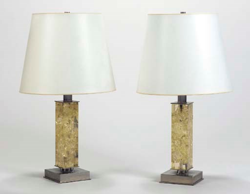 A PAIR OF SMALL LUCITE AND NIC