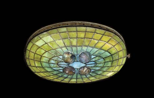 A LEADED GLASS AND TURTLE BACK