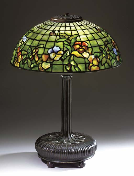 A 'PANSY' LEADED GLASS AND BRO