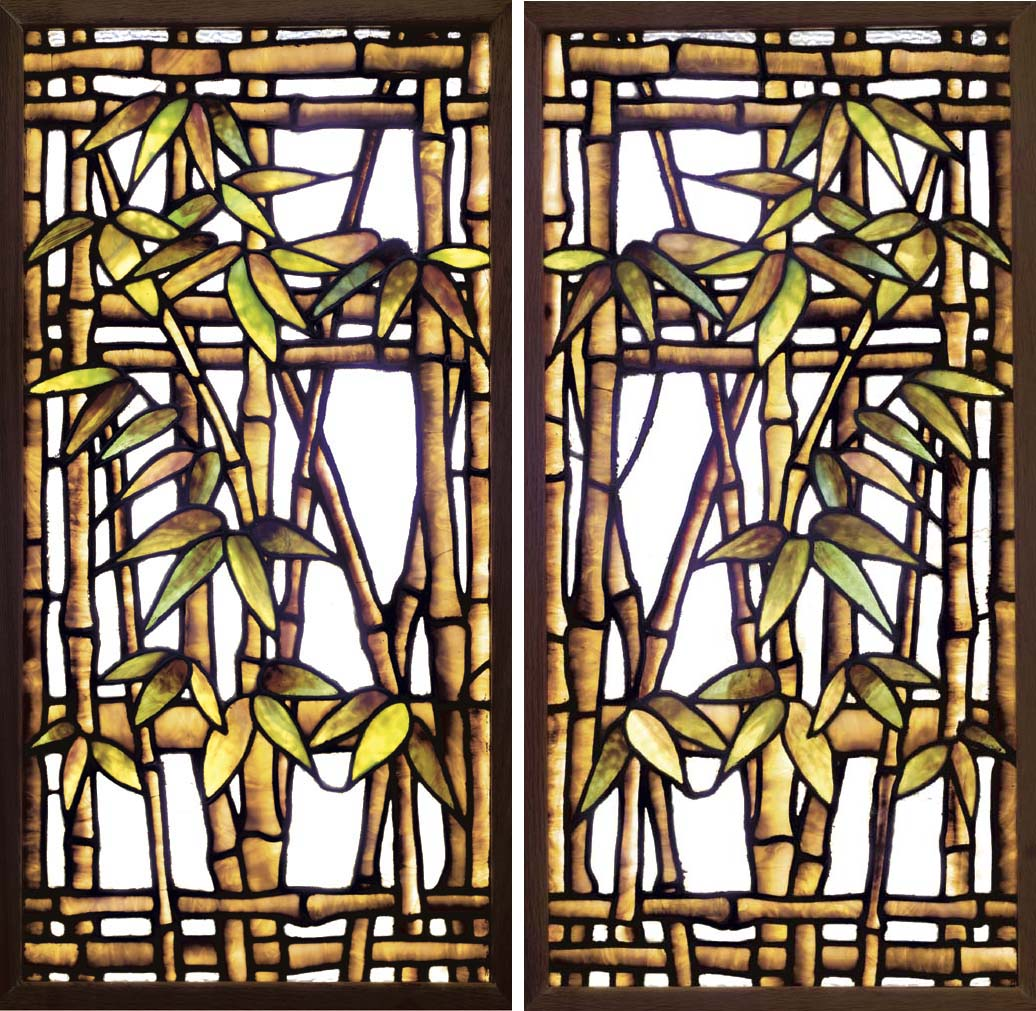 A PAIR OF 'BAMBOO' LEADED GLAS