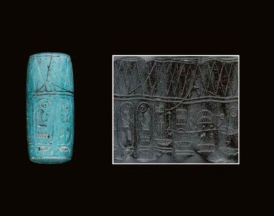 A PHOENICIAN FAIENCE CYLINDER