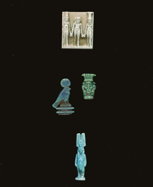 FOUR EGYPTIAN FAIENCE AMULETS