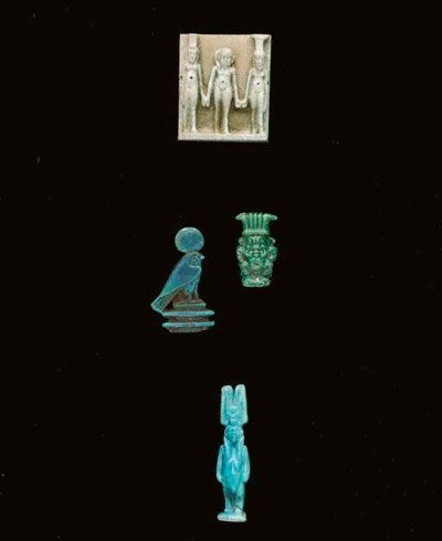 FOUR EGYPTIAN FAIENCE AMULETS