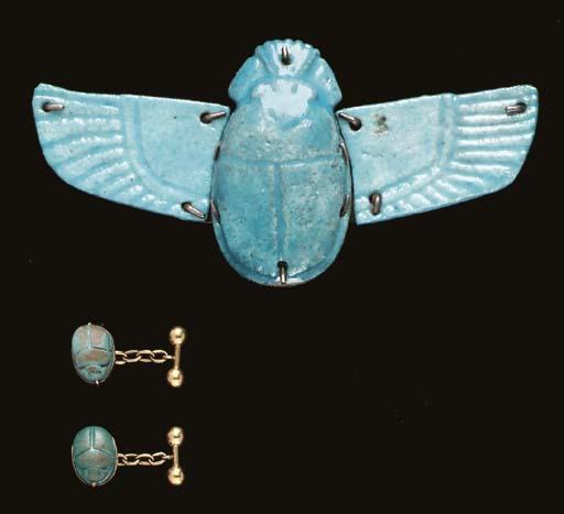 THREE EGYPTIAN SCARABS