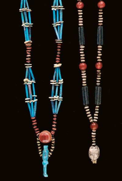 TWO EGYPTIAN FAIENCE BEAD NECK