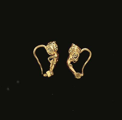 A PAIR OF GREEK GOLD EARRINGS