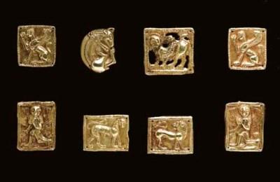 EIGHT SCYTHIAN GOLD FITTINGS