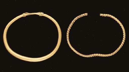 TWO ANCIENT GOLD BRACELETS