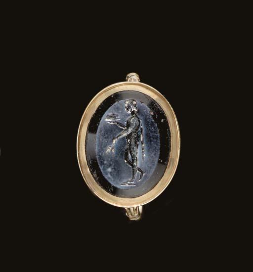 A ROMAN GLASS RING STONE