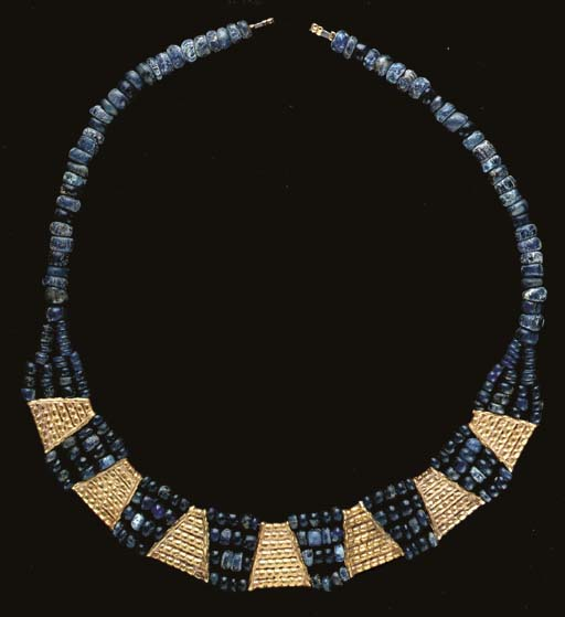 A GOTHIC GOLD AND GLASS NECKLA