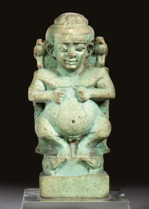 AN EGYPTIAN FAIENCE CIPPUS AMU