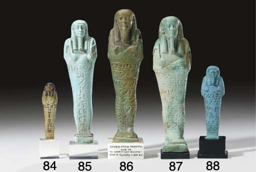 AN EGYPTIAN GLASSY FAIENCE SHA