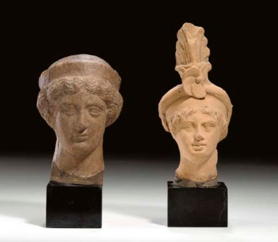 TWO GREEK TERRACOTTA HEADS