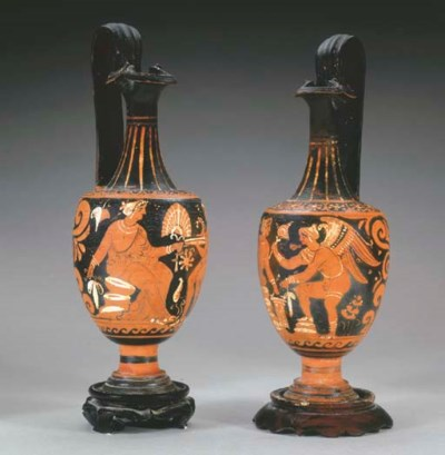 TWO APULIAN RED-FIGURED OINOCH