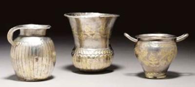 THREE GREEK GILT SILVER VESSEL