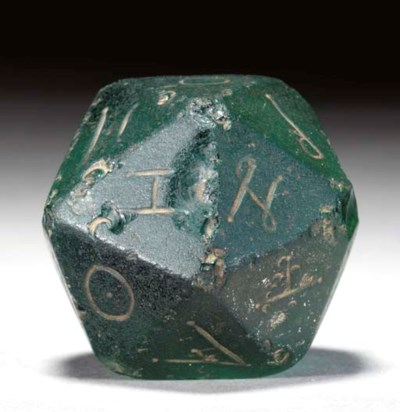 A ROMAN GLASS GAMING DIE