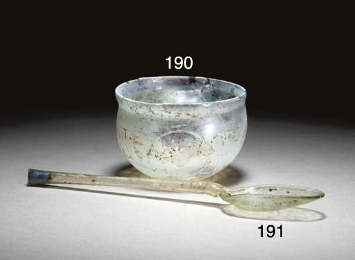 A ROMAN GLASS SPOON