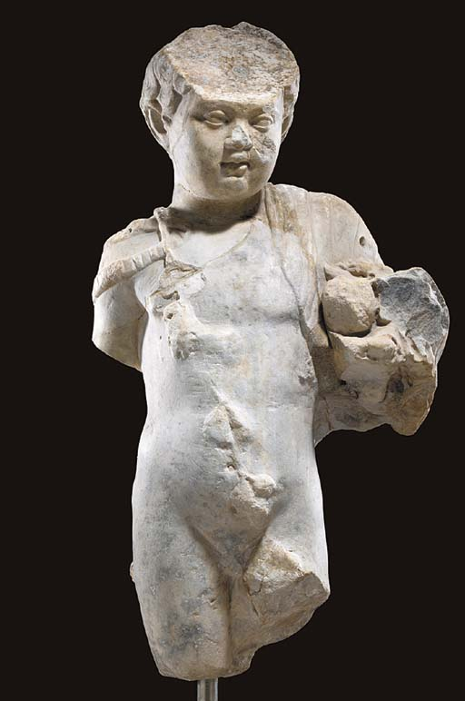 A ROMAN MARBLE FIGURE OF A YOU