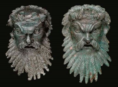 TWO ROMAN BRONZE SILENUS MASK
